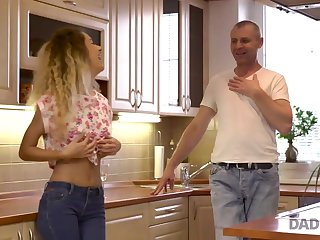 DADDY4K. Curly-haired babe and mother I´d like to fuck man try old and..