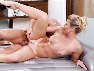 Big cans blond hair girl mom massage and rides a big dick