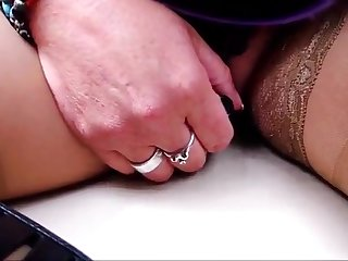 Wife play with small vibrator in city tour buss