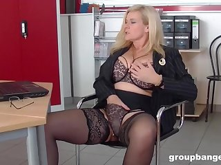 Mature blonde MILF secretary pounded hardcore in an office