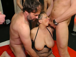 Big tittied cougar Grace is fucked by several young and insatiable dudes