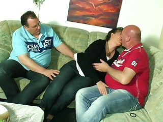Mature couple invites perverted neighbor for dirty threesome sex