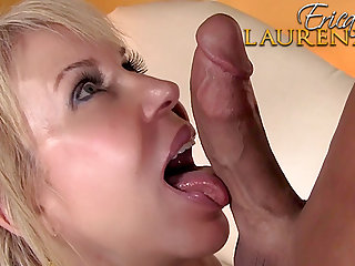 Desirable housewife blond hair girl Erica Lauren pleasing a big knob