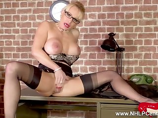 Blondie big knockers Secretary Mature Tara Spades wanks on desk in nylons heels