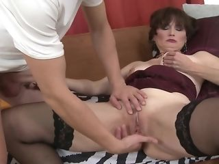Russian dark-haired mummy gets lose one's train of thought youthfull trunk she hungers freeporn