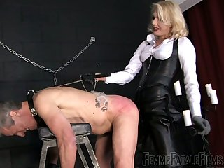 Blond mistress Akella is punishing anal hole and deep throat of submissive dude