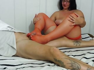busty milf in red stockings, footjob,Handjob