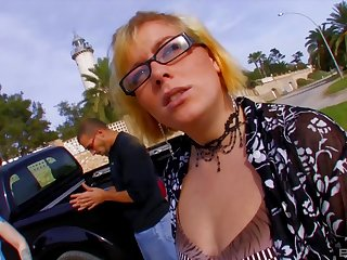 Blonde Dickxy spreads her legs for a cock at the beach while she moans