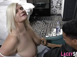 Grandmother with huge breast sucking male stick