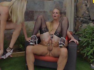 shagged two german mamas in the backyard - german