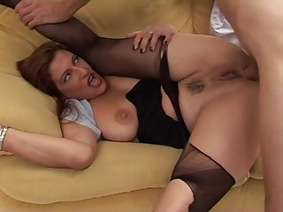 Long haired dude with hard cock pounds sexy MILF on the couch