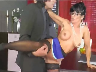 Hot mature secretary gets fucked by the boss on the table
