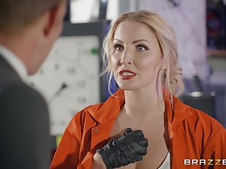 Female mechanic with big boobs gives titjob and takes a cock in the garage.