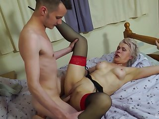 Nude old lady leaves the nephew to fuck her merciless