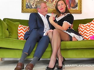 Costumed and horny milf Lara adores hard lover's shaft inside her