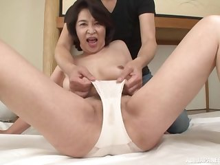 Japanese mom goes wild on cock in full webcam show