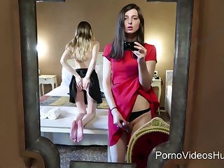 Cute t-girl Vica and her sexy small-titted girlfriend