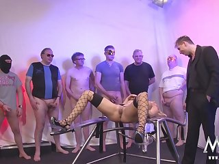 German Blonde Mommy Gangbang and Bukkake