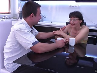 Rich granny pays a younger man to fuck her brains out with his big dick