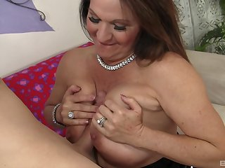 Older woman Laylani Wood with saggy tits rides a huge shaft