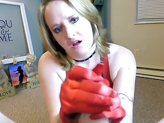 Red Satin Gloves And Big Titty Fucking Love with Massive Oral Cumshot