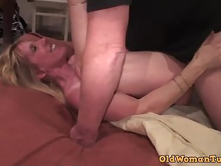 Creampie Gang-fornicate For Older Mommy